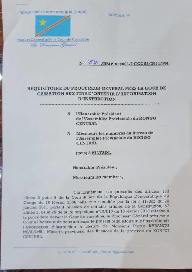 Le procureur veut poursuivre le ministre des Finances du Kongo Central (Réquisitoire)